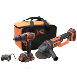 Black and Decker - Berbequim com percusso 18V  Rebarbadora 18V 125mm com 2 baterias 20Ah de Litio carregador e saco de transporte - BCK24D2S
