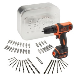Black and Decker - Berbequim Aparafusador 108V com 1 bateria 15Ah de Litio 50 acessrios carregador e caixa de metal - BDCDD12AT