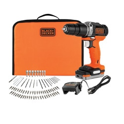 Black and Decker - KIT Berbequim com Percusso 12V com Bateria USB 15Ah 80 Acessorios e Carregador - BDCHD12S1A