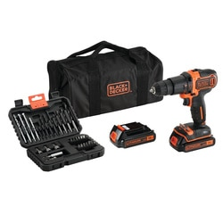 Black and Decker - KIT Berbequim com Percusso 18V com 2 baterias set 32 acessrios e saco de transporte - BDCHD18BS32