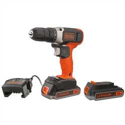 Black and Decker - Berbequim Aparafusador 18V com 2 baterias 25Ah Litio - BCD001E2K