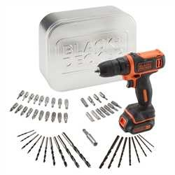 Black And Decker - Berbequim aparafusador 108V 15Ah Ltio  com 50 acessrios e lata - BDCDD12AT