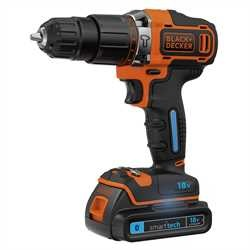 Black And Decker - Berbequim Percutor 18V 15Ah com bateria Smart Tech  carregador 400mA e mala - BDCHD18KST